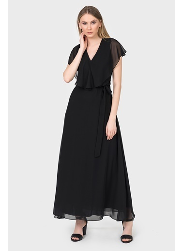İroni V Yaka Uzun Şifon Elbise Siyah